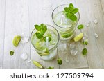 two fresh mojitos cocktail.... | Shutterstock . vector #127509794