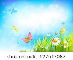 Stock vector summer sunny background with with beautiful flowers and butterflies 127517087