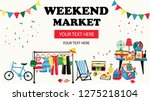 weekend market banner with... | Shutterstock .eps vector #1275218104