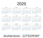 2020 year spanish calendar in... | Shutterstock .eps vector #1275239287