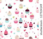 Seamless Love Cupcake Pattern