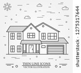 vector thin line icon suburban... | Shutterstock .eps vector #1275317644