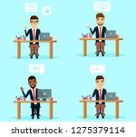 set of concepts. young guys in... | Shutterstock .eps vector #1275379114