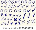 tick  cross  circles and ovals. ... | Shutterstock .eps vector #1275403294