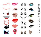 Cartoon Mouths And Eyes   Set ...