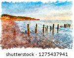 watercolor painting of sandsend ... | Shutterstock . vector #1275437941