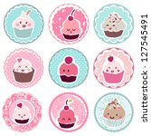 cute cupcake tags | Shutterstock .eps vector #127545491