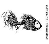 illustration of fish in tattoo... | Shutterstock .eps vector #127553345