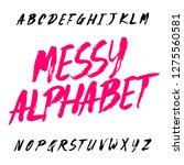 messy alphabet font. uppercase...   Shutterstock .eps vector #1275560581