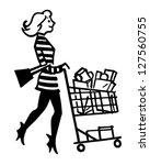 mod shopper   retro clipart... | Shutterstock .eps vector #127560755