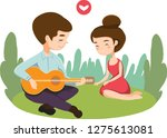 cute romantic couple playing... | Shutterstock .eps vector #1275613081