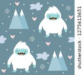 Stock vector cute yeti and snow pattern on blue background 1275613651
