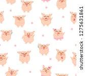 cute pig  seamless pattern ... | Shutterstock .eps vector #1275631861