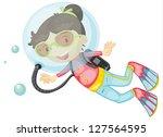 illustration of a girl scuba... | Shutterstock . vector #127564595