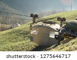 Small photo of A scary homemade little cable car to get across the grassy valley at Hinterbergen, Lake Lucerne, Switzerland