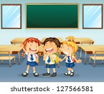 illustration of happy students... | Shutterstock . vector #127566581