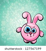 funny cartoon pink bunny with...