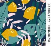 fresh lemons  leaves background.... | Shutterstock .eps vector #1275708994
