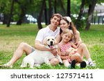 young family outdoors in summer ... | Shutterstock . vector #127571411