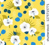seamless vector white hibiscus... | Shutterstock .eps vector #1275715771