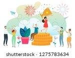 successful woman celebrating... | Shutterstock . vector #1275783634