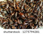 insect pile fried crickets on... | Shutterstock . vector #1275794281