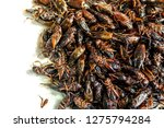 insect pile fried crickets on... | Shutterstock . vector #1275794284