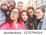 happy friends from diverse... | Shutterstock . vector #1275794314