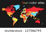 Four Color World Map   Eps10...