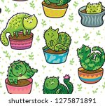 Stock vector seamless pattern with succulents and cactus plant in the form of cats vector illustration 1275871891