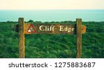Cliff Edge Sign On The Seven...