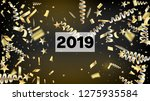 2019 realistic gold tinsel... | Shutterstock .eps vector #1275935584