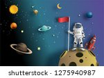 paper art style of astronaut...   Shutterstock .eps vector #1275940987
