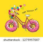 card of a valentine's day. bike ... | Shutterstock .eps vector #1275957007