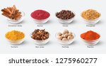 different kinds of spices with... | Shutterstock . vector #1275960277