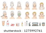 vector woman stages of applying ... | Shutterstock .eps vector #1275992761