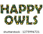 happy owls typography with... | Shutterstock .eps vector #1275996721