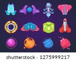 cartoon space icons. spaceships ... | Shutterstock .eps vector #1275999217