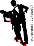 silhouette dancing pairs on... | Shutterstock . vector #127600577
