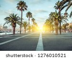 Spring sunrise Port Vell promenade locations with palm trees streets of Barcelona Spain.