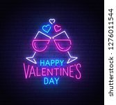valentines day neon text ... | Shutterstock .eps vector #1276011544