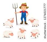 farmer and sheep vector | Shutterstock .eps vector #1276021777