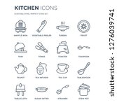 16 linear kitchen icons such as ... | Shutterstock .eps vector #1276039741