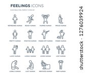 16 linear feelings icons such... | Shutterstock .eps vector #1276039924