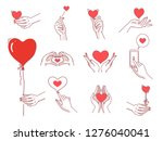 heart hands female set. women... | Shutterstock .eps vector #1276040041