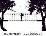 vector silhouette of girl in... | Shutterstock .eps vector #1276050184
