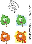 green leaf cartoon mascot... | Shutterstock . vector #127606724