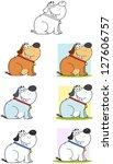 fat dog sitting cartoon mascot...   Shutterstock . vector #127606757