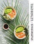 bowl with hawaiian salmon poke  ... | Shutterstock . vector #1276081951