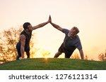 the two sportsmen push up...   Shutterstock . vector #1276121314
